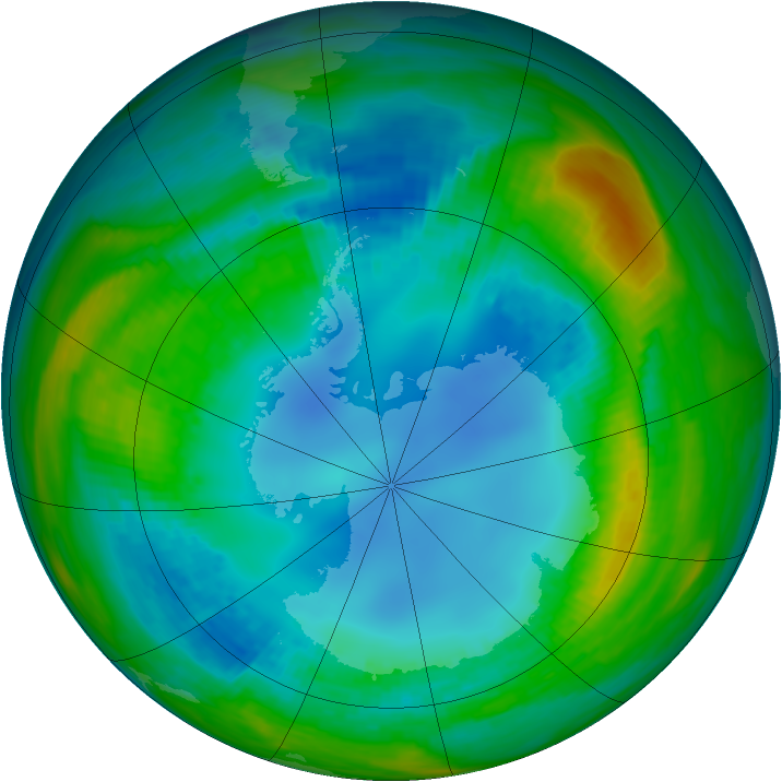 Antarctic ozone map for 09 August 1985