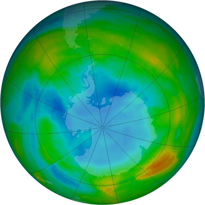 Antarctic ozone map for 12 August 1985