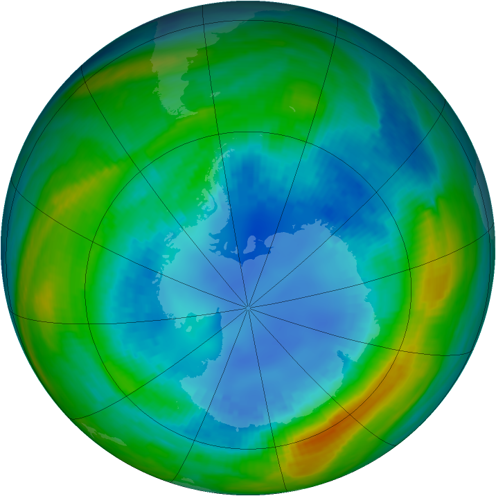 Antarctic ozone map for 24 August 1985