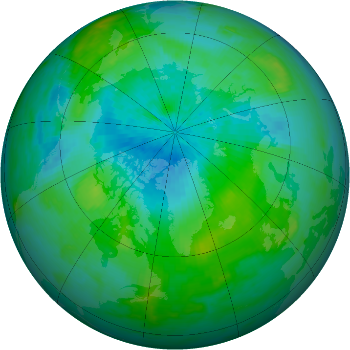 Arctic ozone map for 03 September 1985