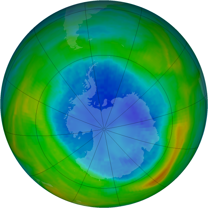 Antarctic ozone map for 03 September 1985