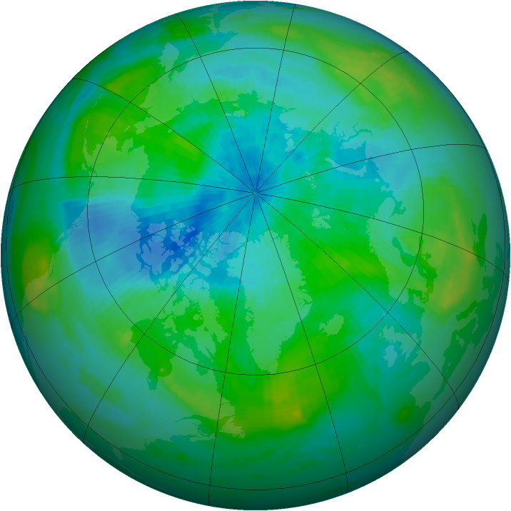 Arctic ozone map for 09 September 1985