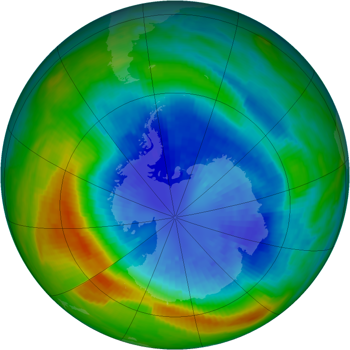 Antarctic ozone map for 12 September 1985