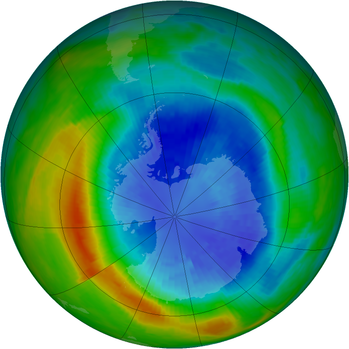 Antarctic ozone map for 13 September 1985