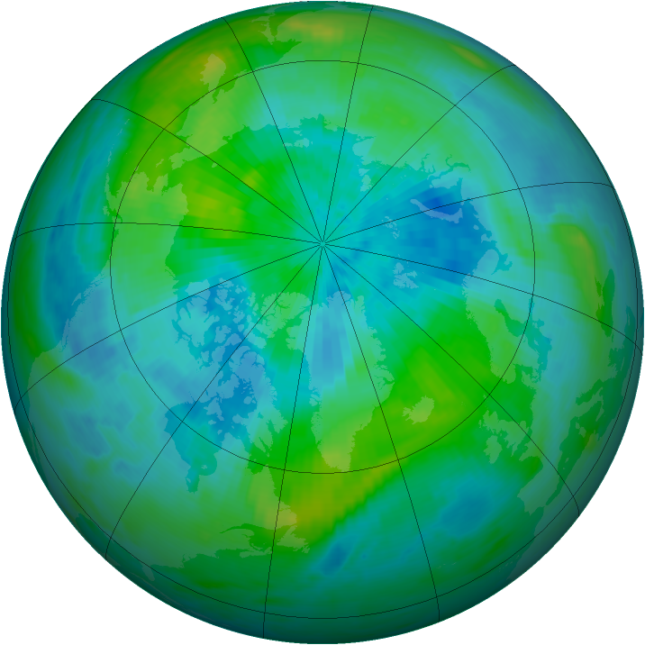 Arctic ozone map for 15 September 1985