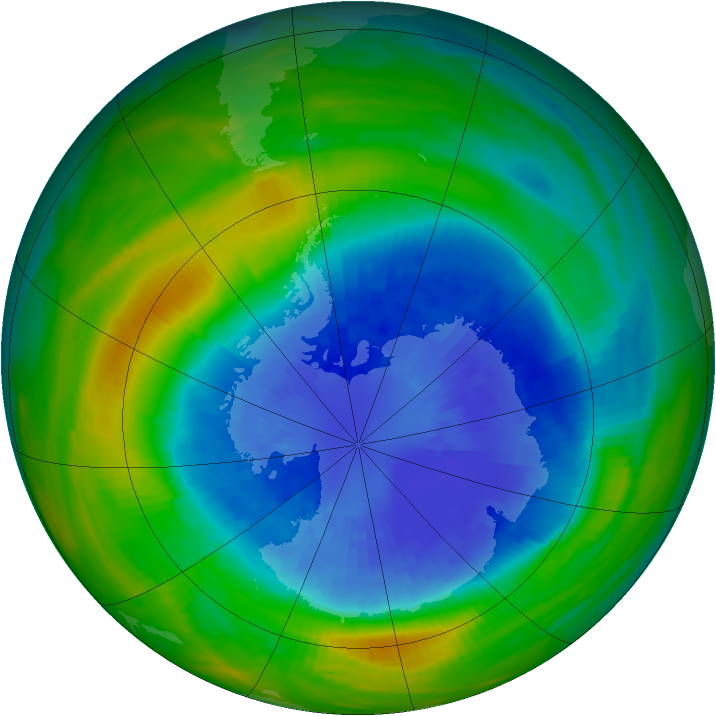 Antarctic ozone map for 16 September 1985