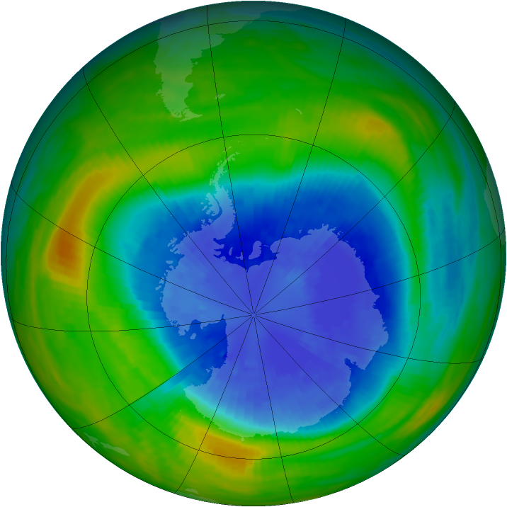 Antarctic ozone map for 17 September 1985