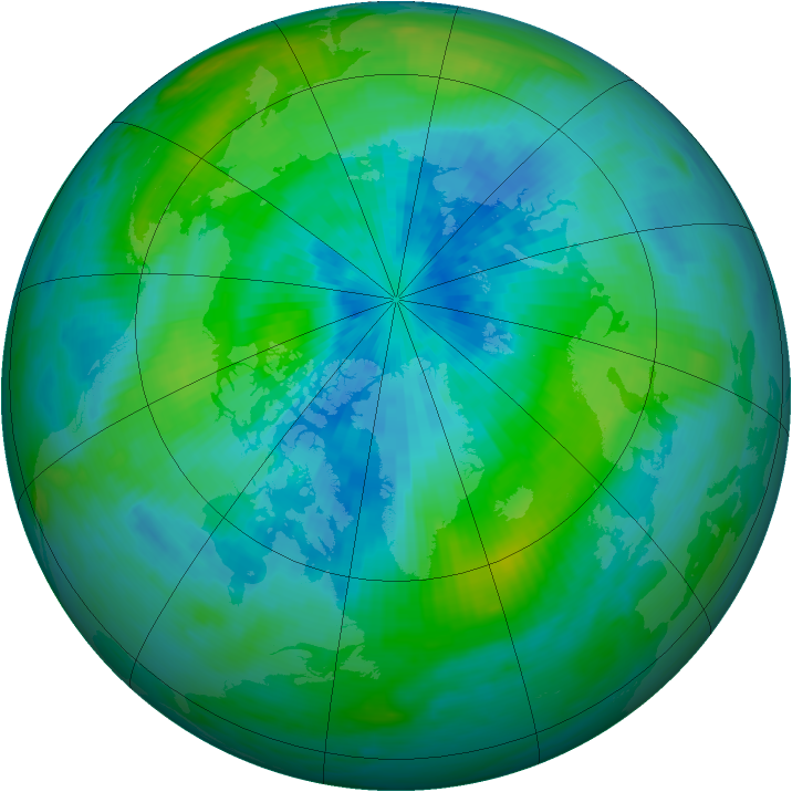 Arctic ozone map for 18 September 1985