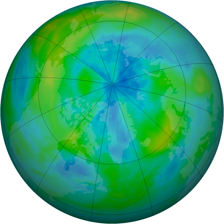 Arctic ozone map for 20 September 1985