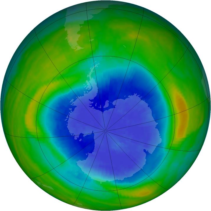 Antarctic ozone map for 20 September 1985