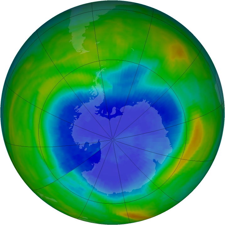 Antarctic ozone map for 21 September 1985