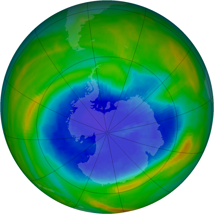 Antarctic ozone map for 22 September 1985