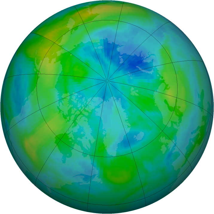 Arctic ozone map for 23 September 1985