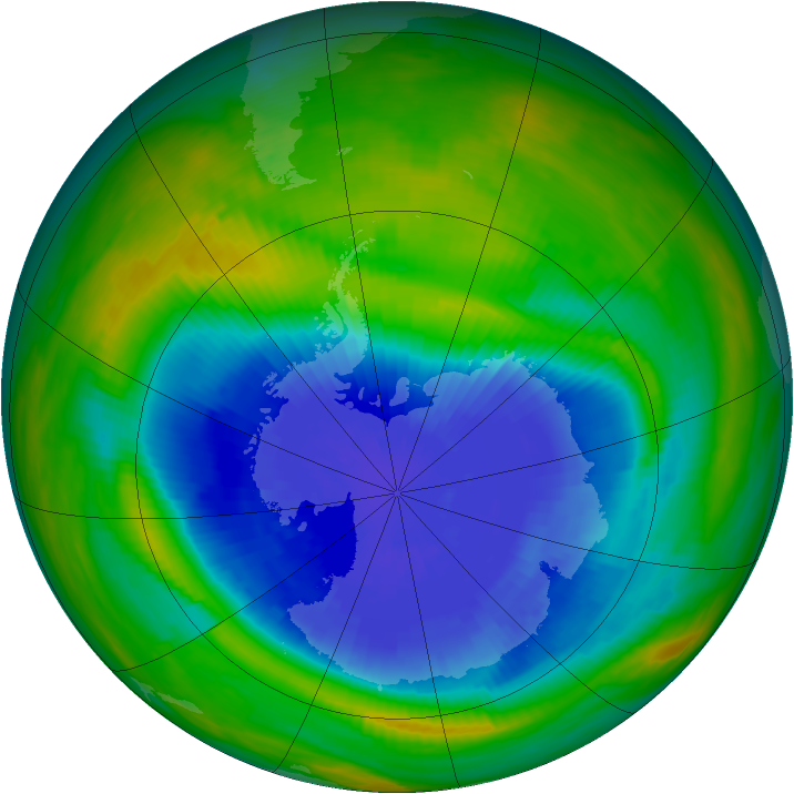 Antarctic ozone map for 24 September 1985