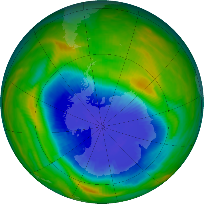 Antarctic ozone map for 25 September 1985