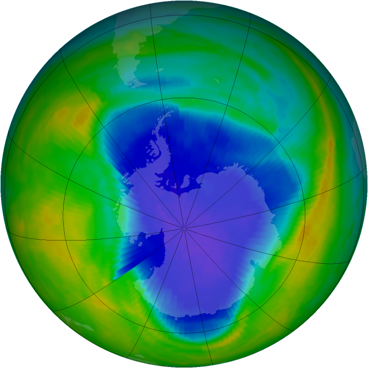 Antarctic ozone map for 02 October 1985