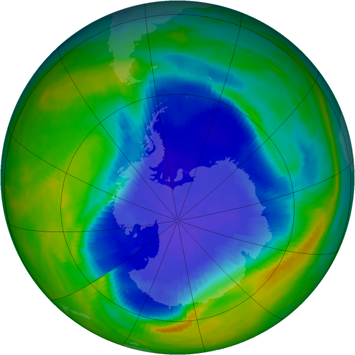 Antarctic ozone map for 03 October 1985