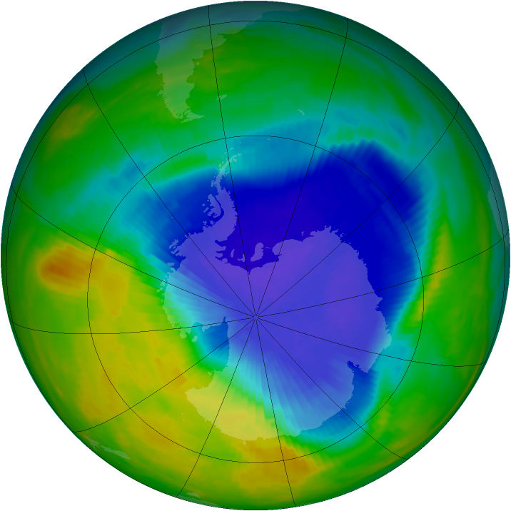 Antarctic ozone map for 05 October 1985