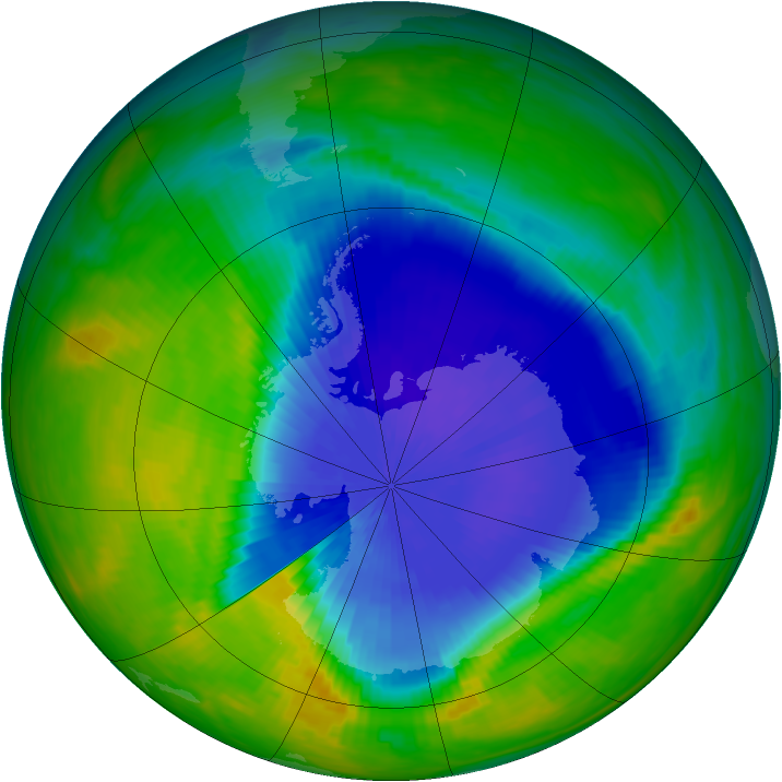 Antarctic ozone map for 06 October 1985