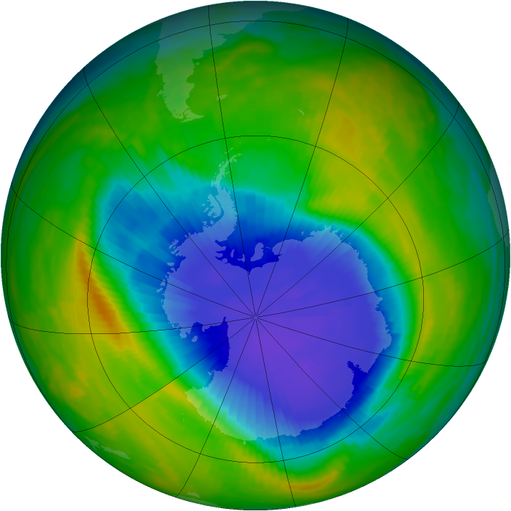 Antarctic ozone map for 20 October 1985