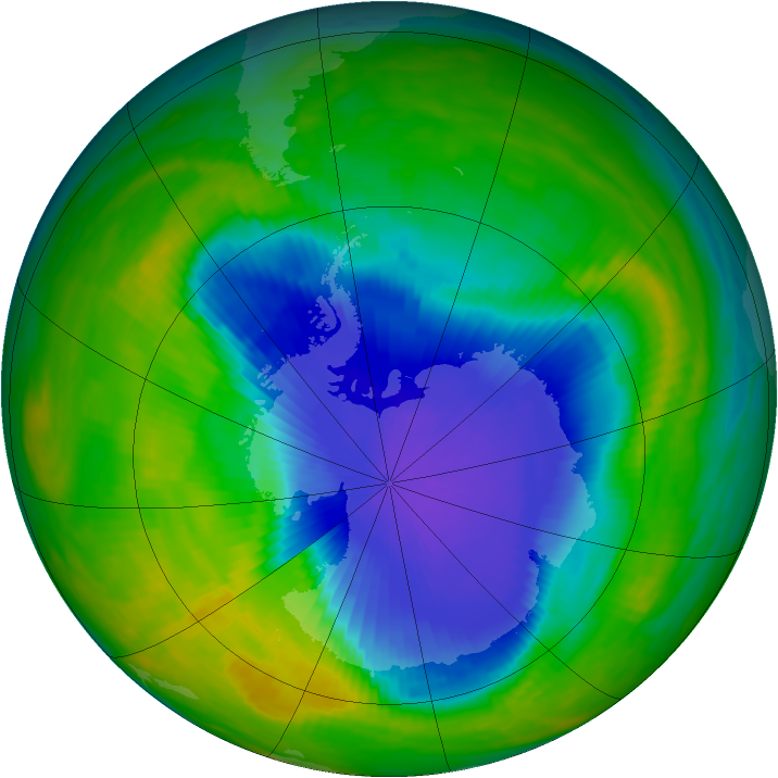 Antarctic ozone map for 24 October 1985