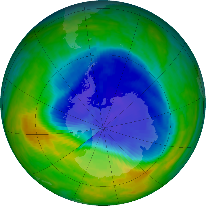 Antarctic ozone map for 30 October 1985