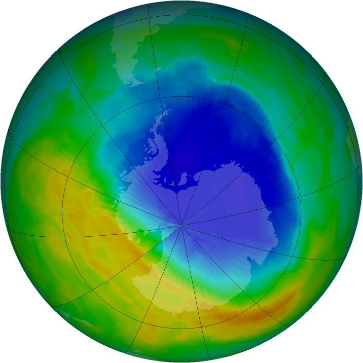 Antarctic ozone map for 01 November 1985