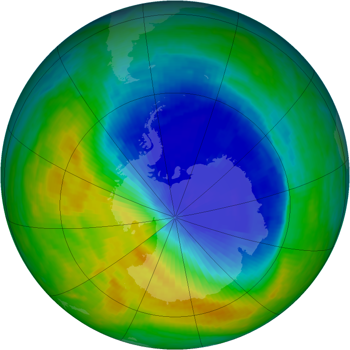 Antarctic ozone map for 02 November 1985