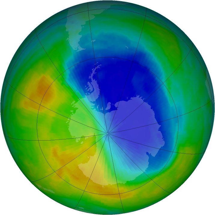 Antarctic ozone map for 03 November 1985