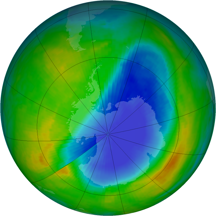 Antarctic ozone map for 08 November 1985
