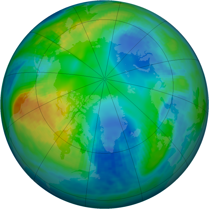 Arctic ozone map for 09 November 1985
