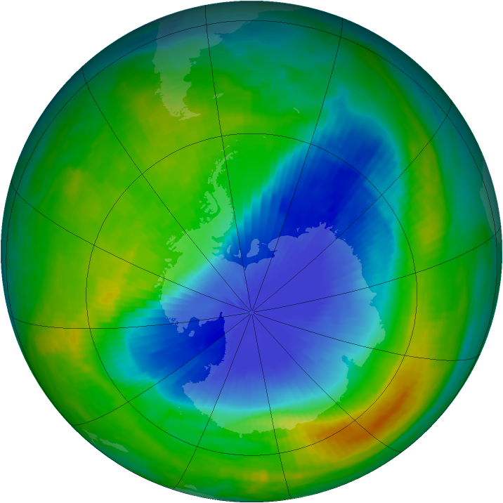 Antarctic ozone map for 09 November 1985
