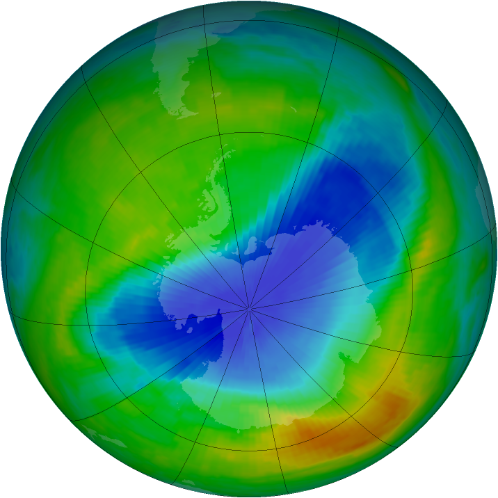 Antarctic ozone map for 10 November 1985