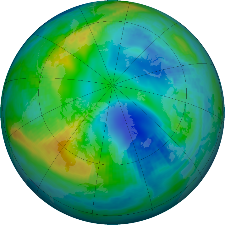 Arctic ozone map for 11 November 1985