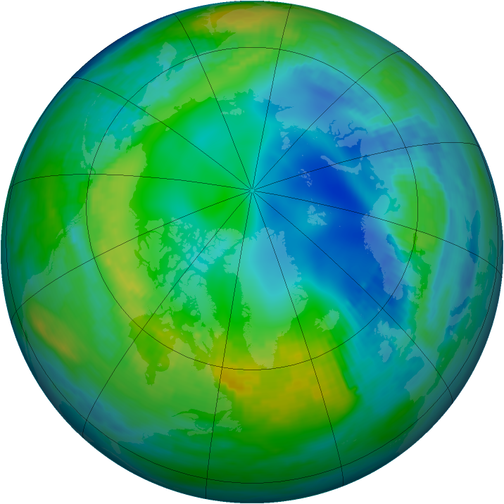 Arctic ozone map for 13 November 1985