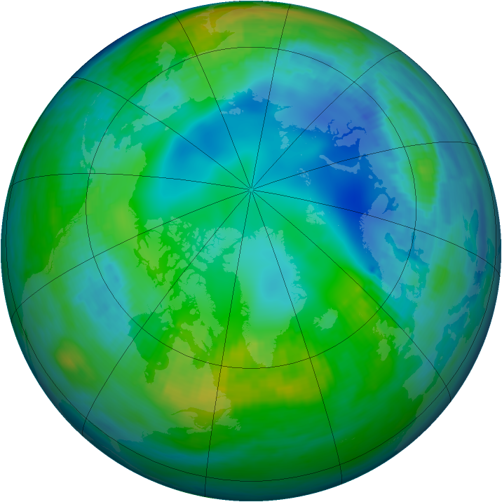 Arctic ozone map for 15 November 1985