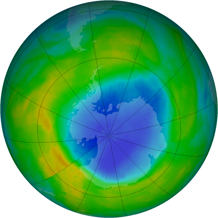 Antarctic ozone map for 17 November 1985