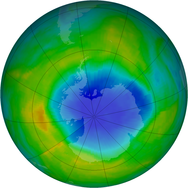 Antarctic ozone map for 18 November 1985