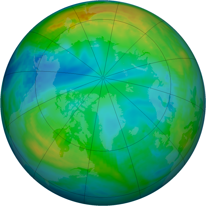 Arctic ozone map for 23 November 1985