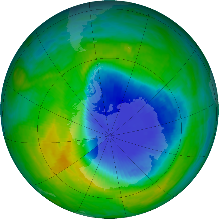 Antarctic ozone map for 23 November 1985