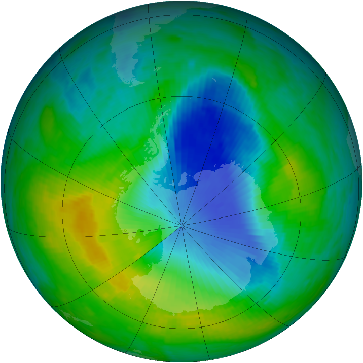 Antarctic ozone map for 25 November 1985