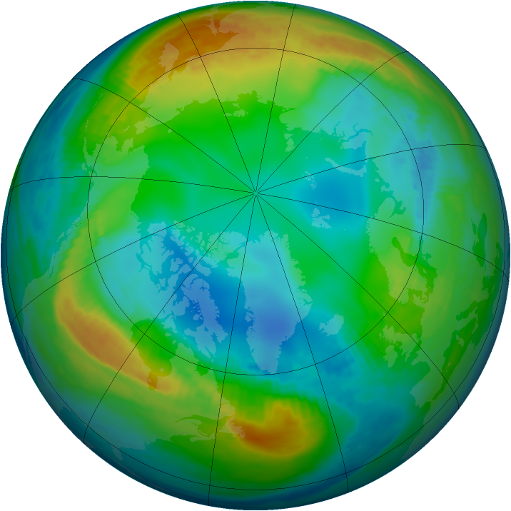 Arctic ozone map for 27 November 1985
