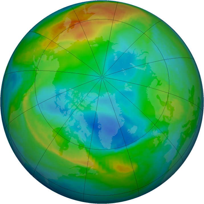 Arctic ozone map for 29 November 1985