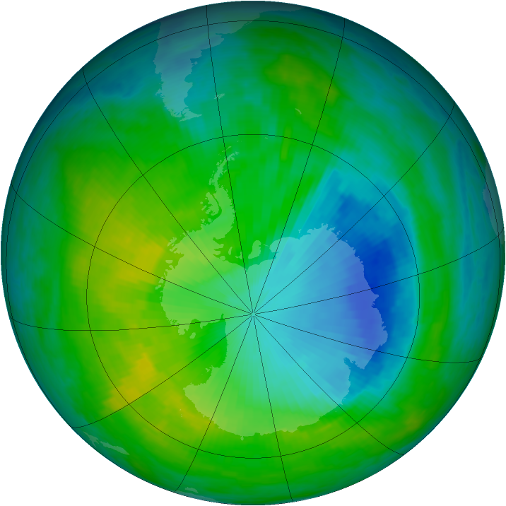Antarctic ozone map for 01 December 1985