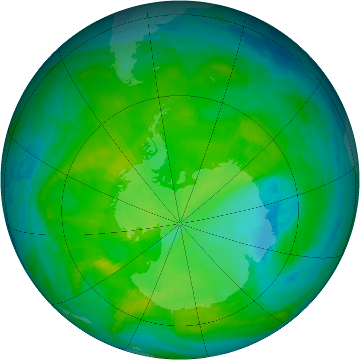 Antarctic ozone map for 07 December 1985