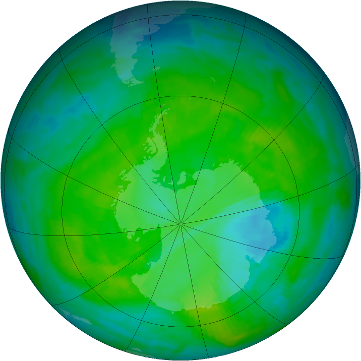 Antarctic ozone map for 11 December 1985
