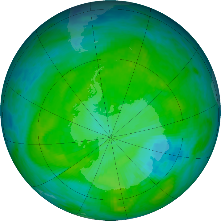 Antarctic ozone map for 12 December 1985
