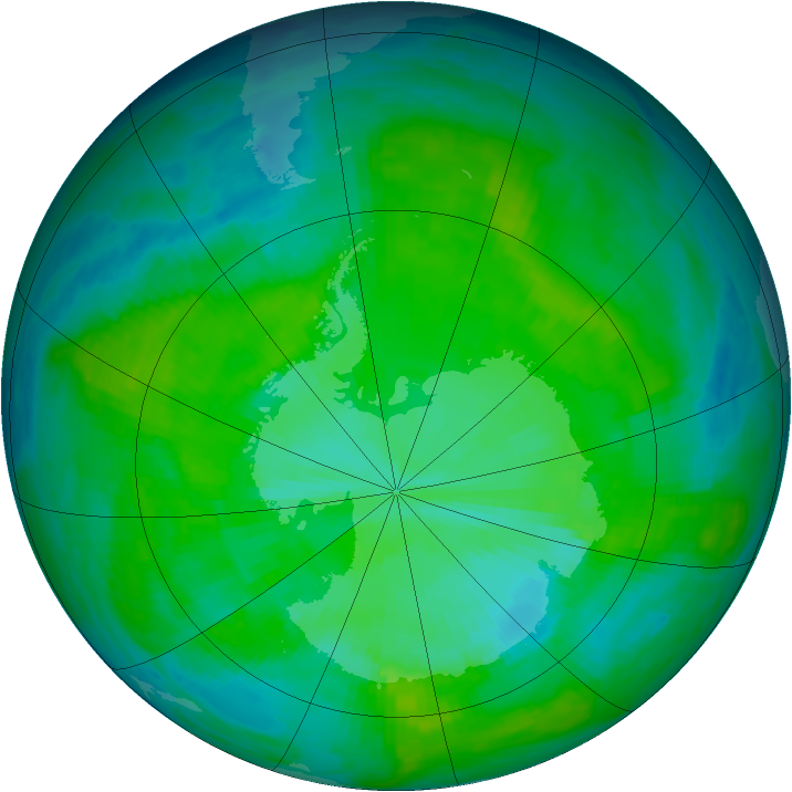 Antarctic ozone map for 15 December 1985