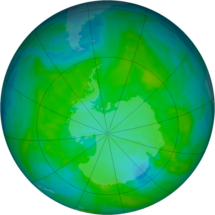 Antarctic ozone map for 16 December 1985