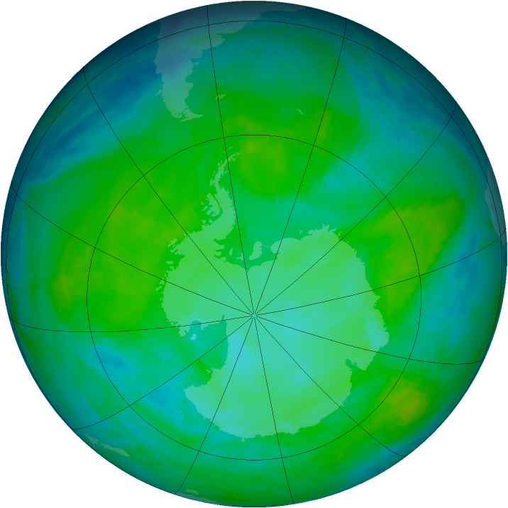 Antarctic ozone map for 20 December 1985